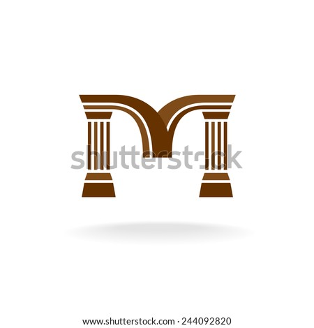 Letter M logo with columns. Architecture, business, lawyer concept. - stock vector
