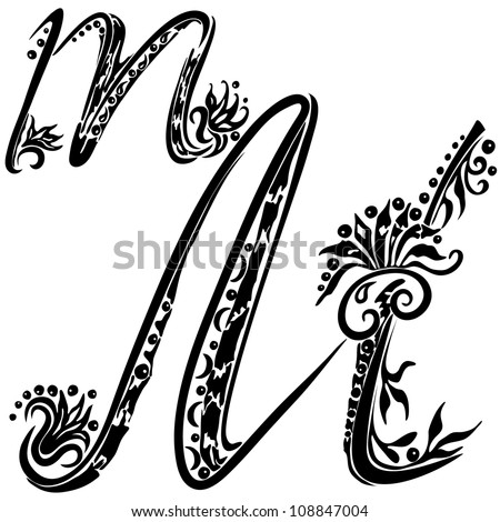 Letter M m  in the style of abstract floral pattern on a white background - stock vector