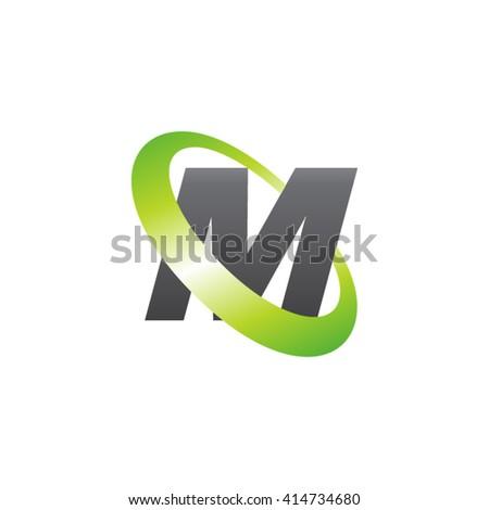 Letter M orbiting swoosh business logo gray green - stock vector