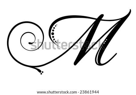 Letter M - Script - stock vector