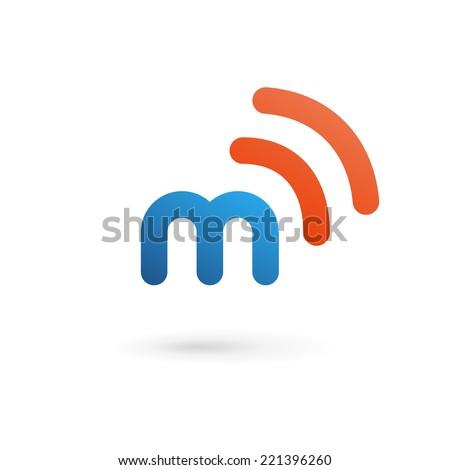 Letter M wireless logo icon design template elements - stock vector