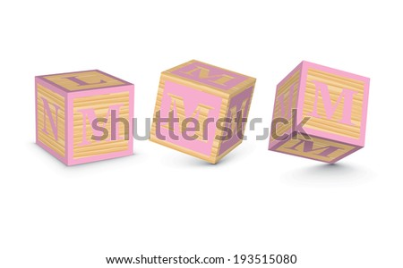Letter M wooden alphabet blocks - vector illustration - stock vector