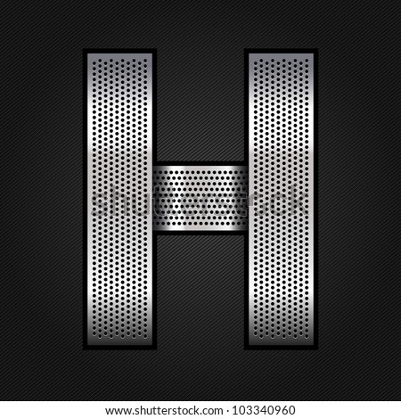 Letter metallic chromium ribbon - H, vector 10eps - stock vector