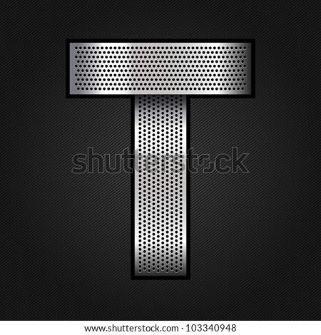 Letter metallic chromium ribbon - T, vector 10eps - stock vector