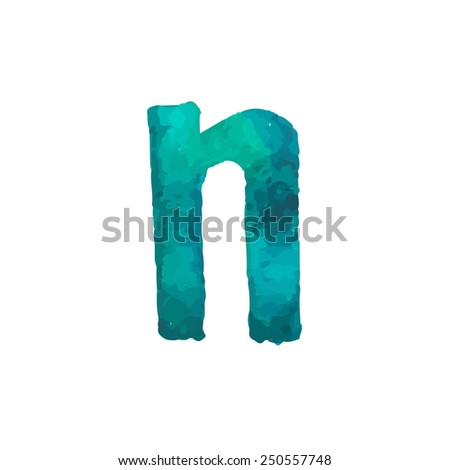 Letter N Colorful watercolor aquarelle font type handwritten hand draw doodle abc alphabet letters Vector illustration - stock vector