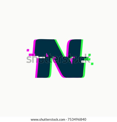 Letter N Glitch Font Vector Isolated Stock Vector Hd Royalty Free