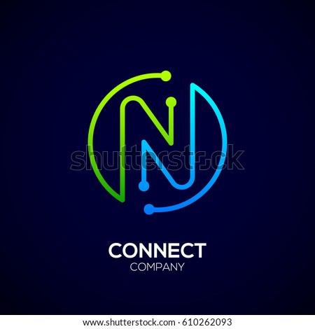 M Rank Letter N Logo Circle Shape