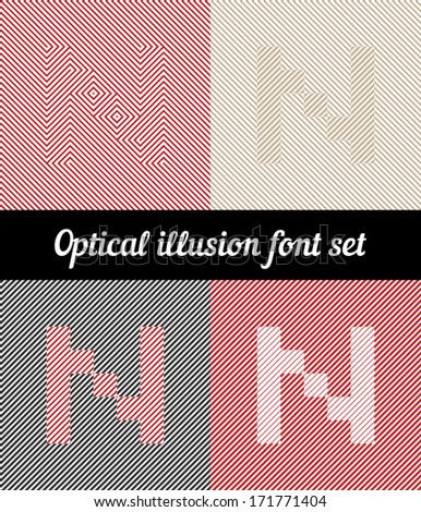 Letter N, Optical illusion pixel font set - stock vector