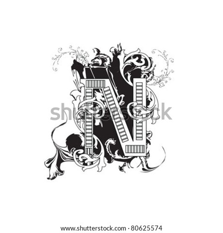 Letter N Ornate Black and White - stock vector
