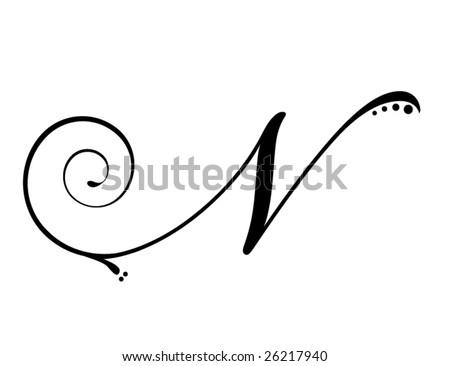 Letter N - Script - stock vector
