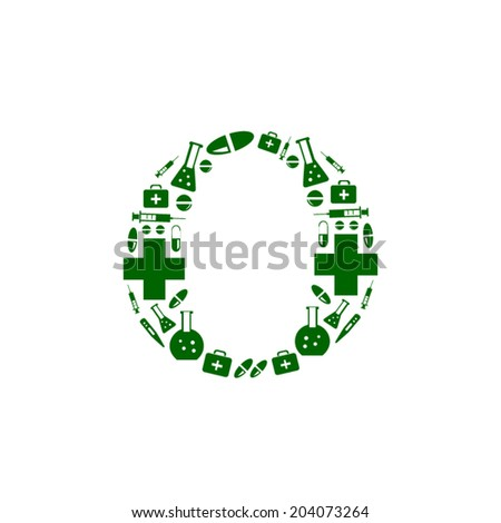 Letter O, alphabet of medicine pills - stock vector