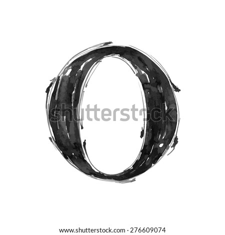 letter O. Alphabet symbol - grunge hand draw paint / vector illustration - stock vector