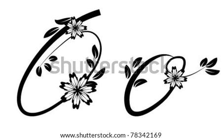 Letter O (floral font) - stock vector