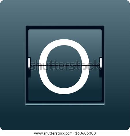 Letter O from mechanical scoreboard. Vector - stock vector