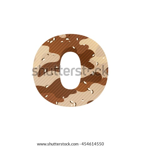 Letter O logo with desert camouflage. Vector design for banner, presentation, web page, card, labels or posters.