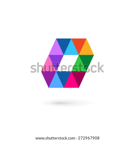 Letter O number 0 mosaic logo icon design template elements