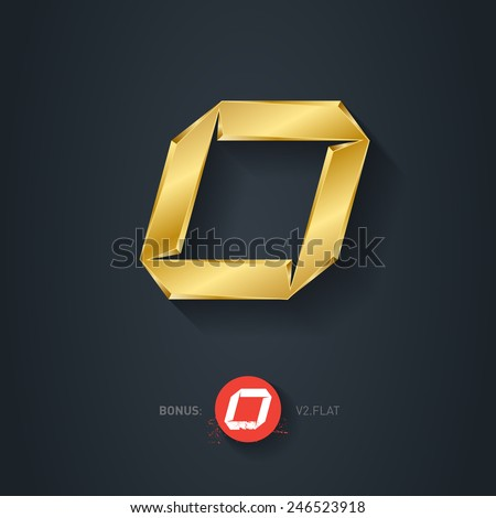 Letter O, Vector gold font. Elegant Template for company logo. Metallic Design element or icon. Pseudo origami style, including flat version. - stock vector