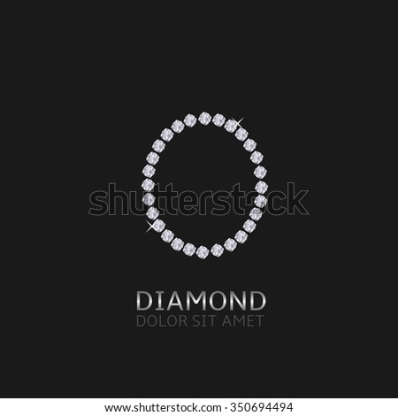 Letter O with gemstones. Luxury Diamond alphabet, Vector illustration - stock vector