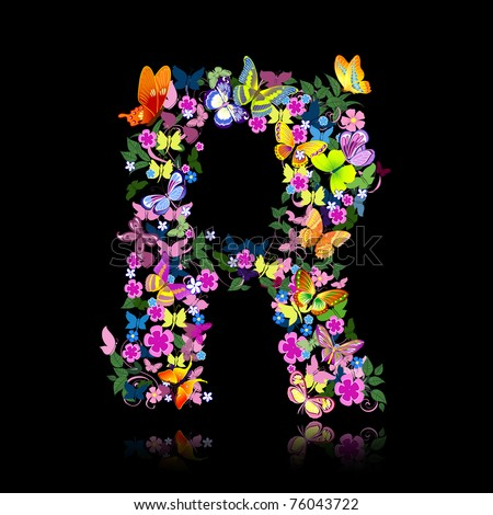 letter of flowers and a butterfly - stock vector