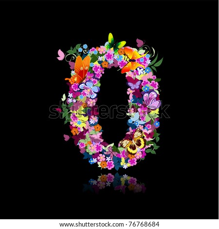 letter of flowers and butterflies figures - stock vector