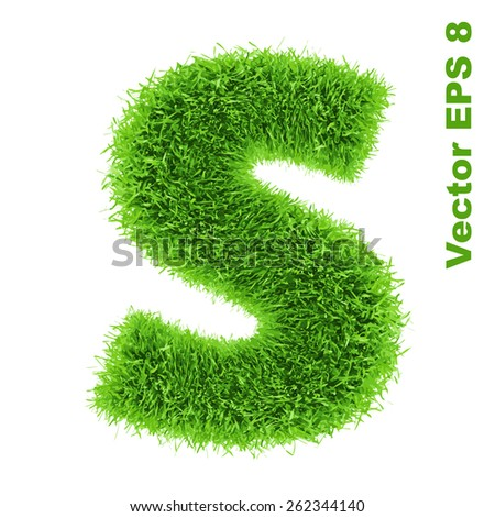 Letter of grass alphabet, vector illustration EPS 8. - stock vector