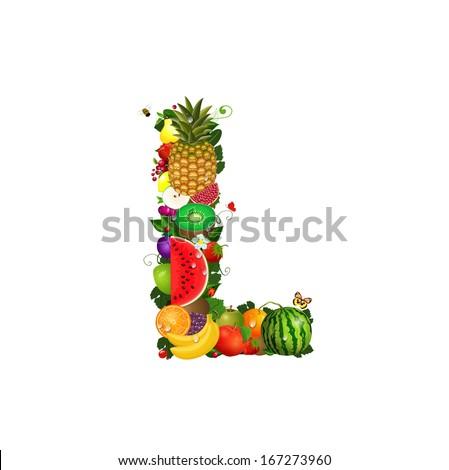Letter of juicy fruit L - stock vector