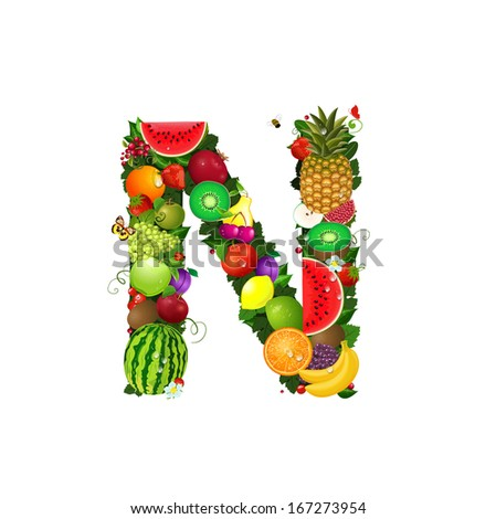Letter of juicy fruit N - stock vector