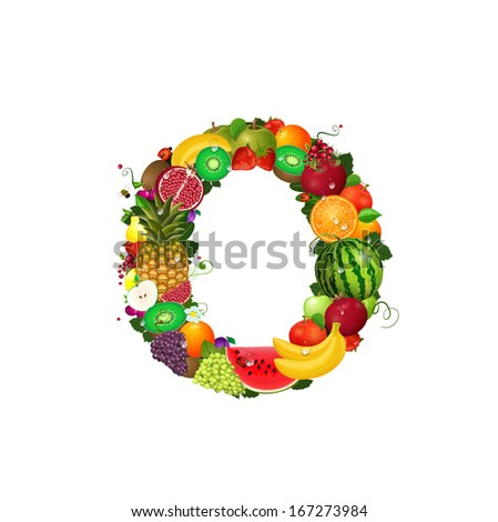 Letter of juicy fruit O - stock vector