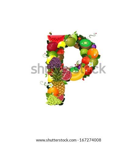 Letter of juicy fruit P - stock vector