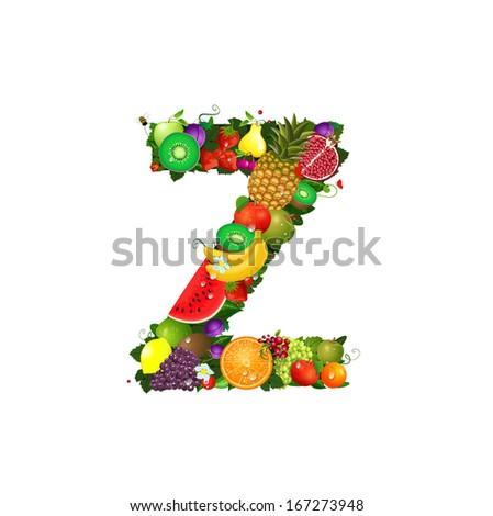 Letter of juicy fruit Z - stock vector