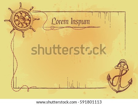 Letter invitation blank card pirate style stock vector 2018 letter or invitation blank card in pirate style stopboris Image collections