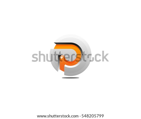 Letter P 3D Circle Logo Design Element