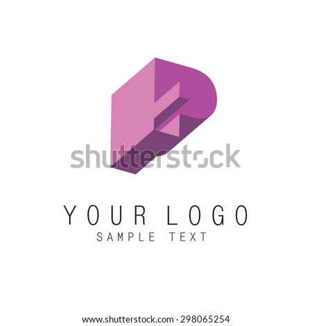 Letter P, geometric colorful 3d style icon, element for corporate identity. Vector EPS10 - stock vector