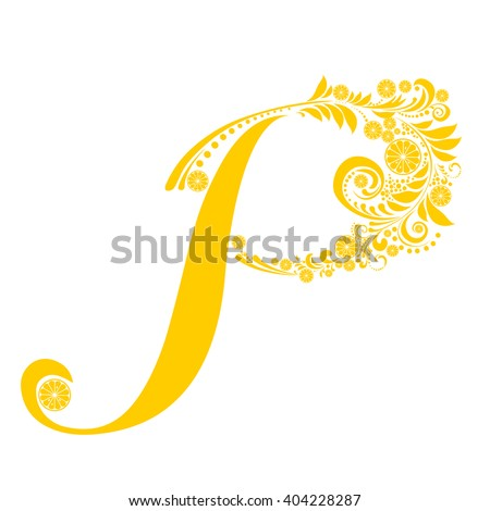 Letter P isolated on white. Romantic letter of beautiful lemon. Floral Alphabet. Vector Illustration