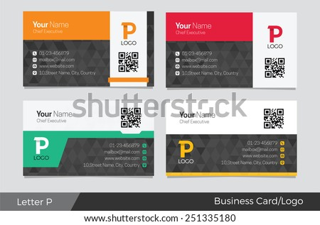 Letter P logo corporate business card - stock vector