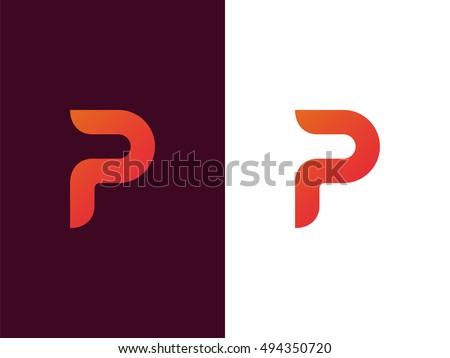Letter P Logo Design Vector Template Stock Vector 494350720