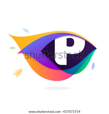 Letter P logo in peacock feather icon. Multicolor vector alphabet letters for app icon, corporate identity, card, labels or posters. - stock vector