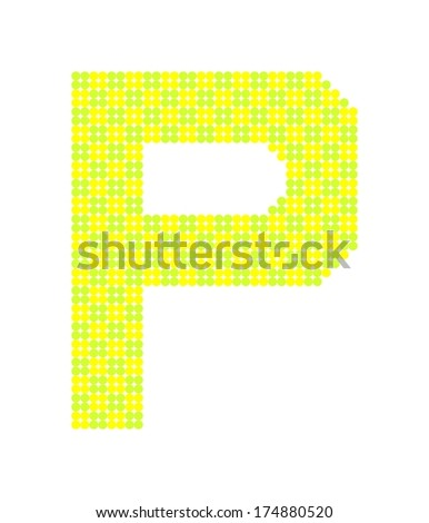 Letter P made from dots (vector) - stock vector