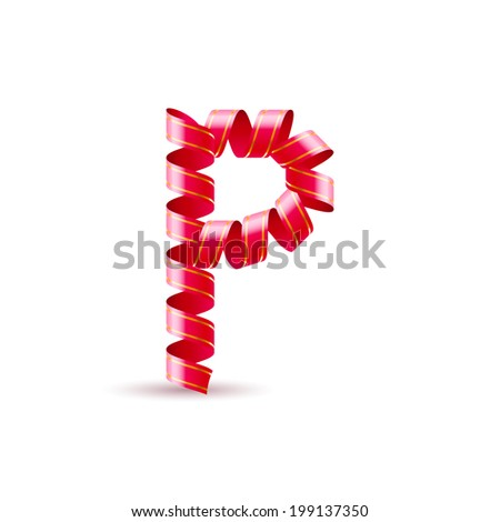 Letter P made of red curled shiny ribbon - stock vector