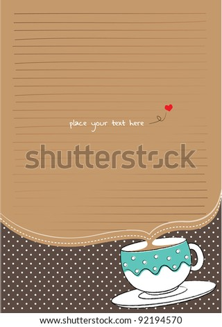 letter paper with cup and polka background for tea party - stock vector