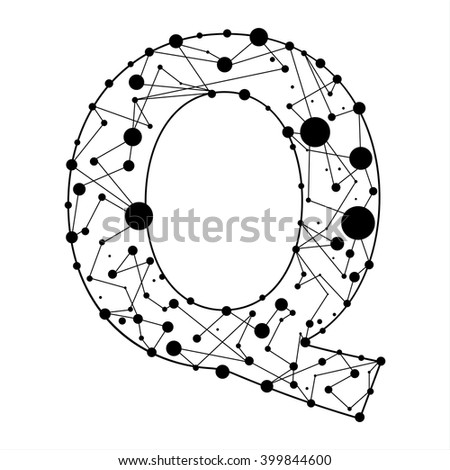 Letter Q consisted of dots and lines, English alphabet - stock vector
