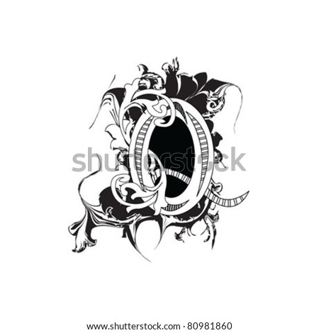 Letter Q Ornate Black and White - stock vector