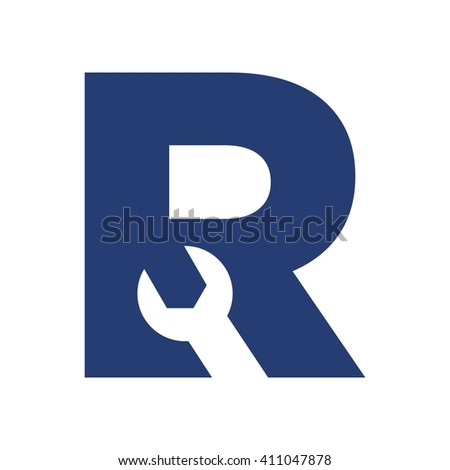 letter R and wrench symbol. logo vector. - stock vector