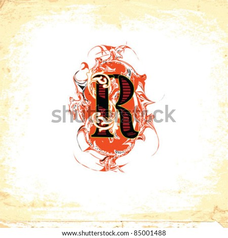 Letter R beautiful ornate - stock vector