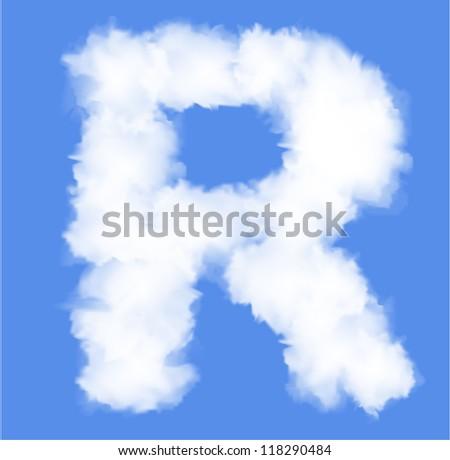 Letter R  cloud shape - stock vector