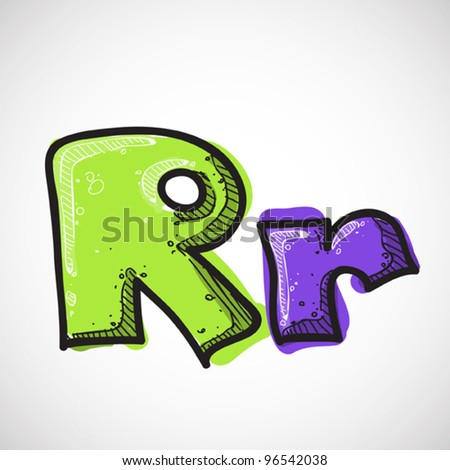 Letter R from candy alphabet. Vector illustration - stock vector