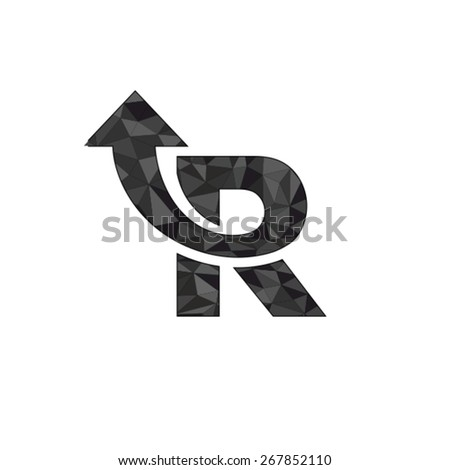 Letter R logo design with arrow symbol - stock vector