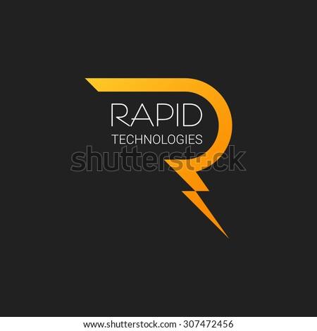 letter r logo vector lightning design template brand illustration business  icon alphabet. Letter R Logo Vector Lightning Design Stock Vector 307472456