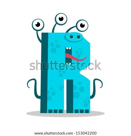 Letter R Monster, vector illustration - stock vector