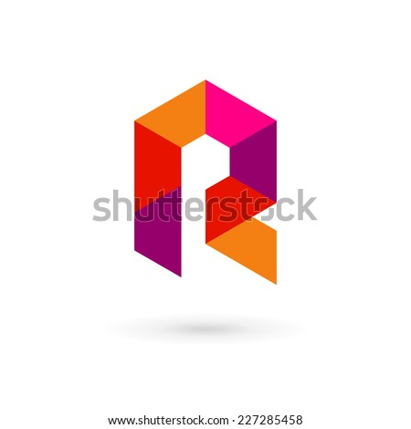 Letter R mosaic logo icon design template elements  - stock vector